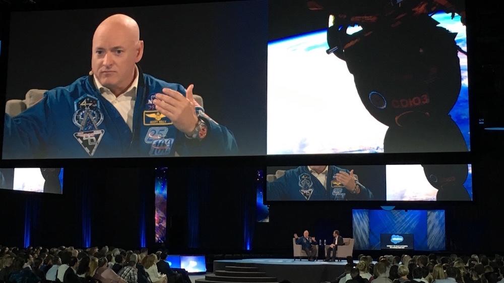 U.S. Navy Captain Scott Kelly imparts his universal wisdom to a rapt crowd.