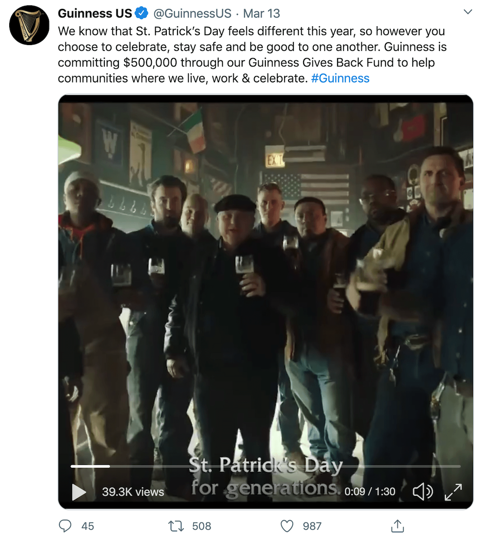 Screenshot taken from Guinness's Twitter account (twitter.com/guinnessus)