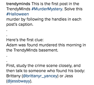 Murder Mystery Blog Instagram Caption