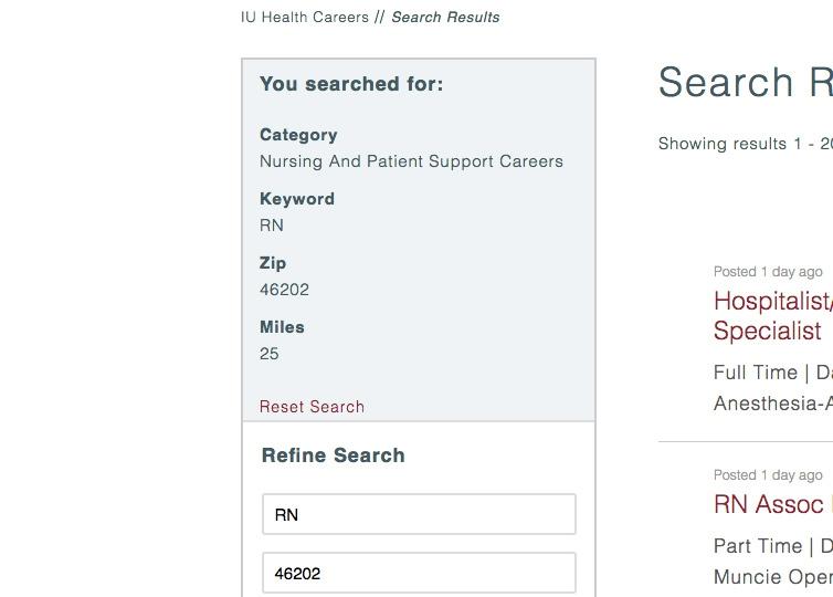 IU Health Careers – Search Criteria Labels