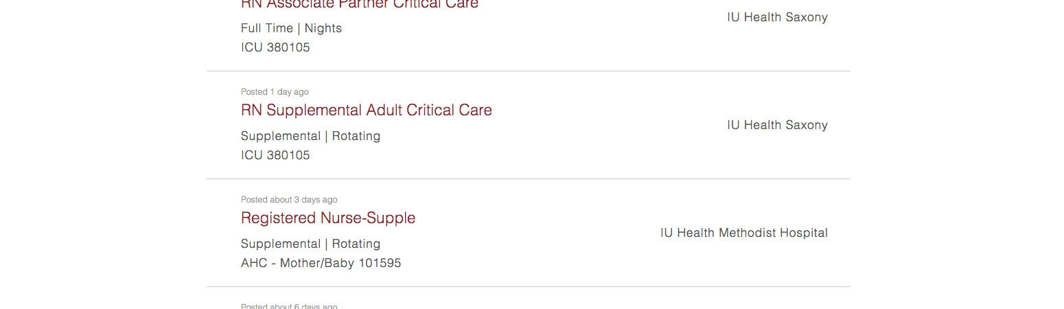 IU Health Careers – Search Results