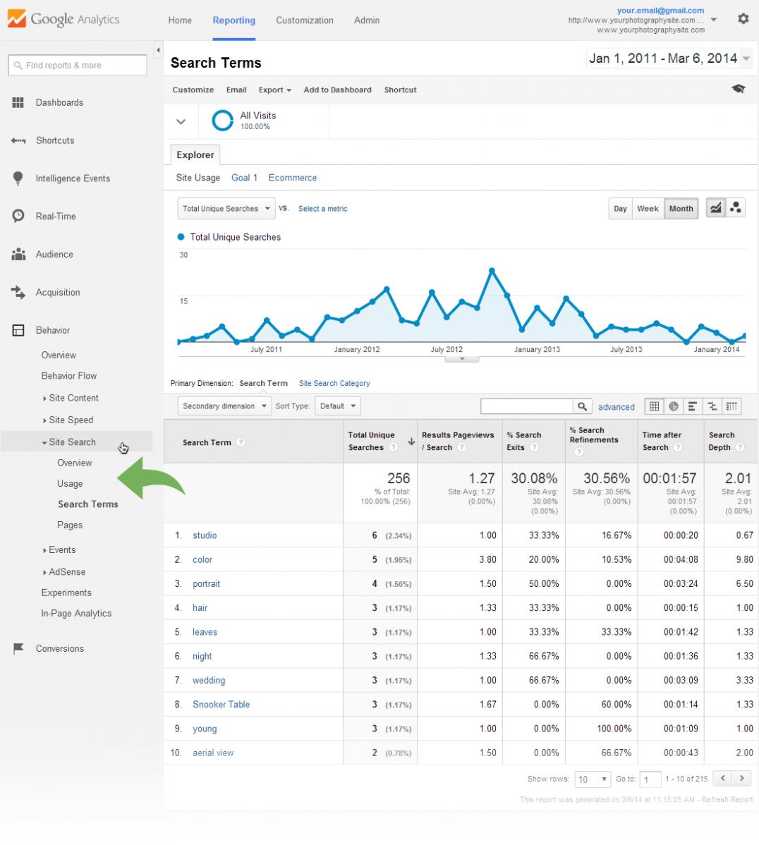Google Analytics Site Search Stats
