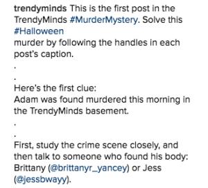 Murder Mystery Blog Instagram Caption