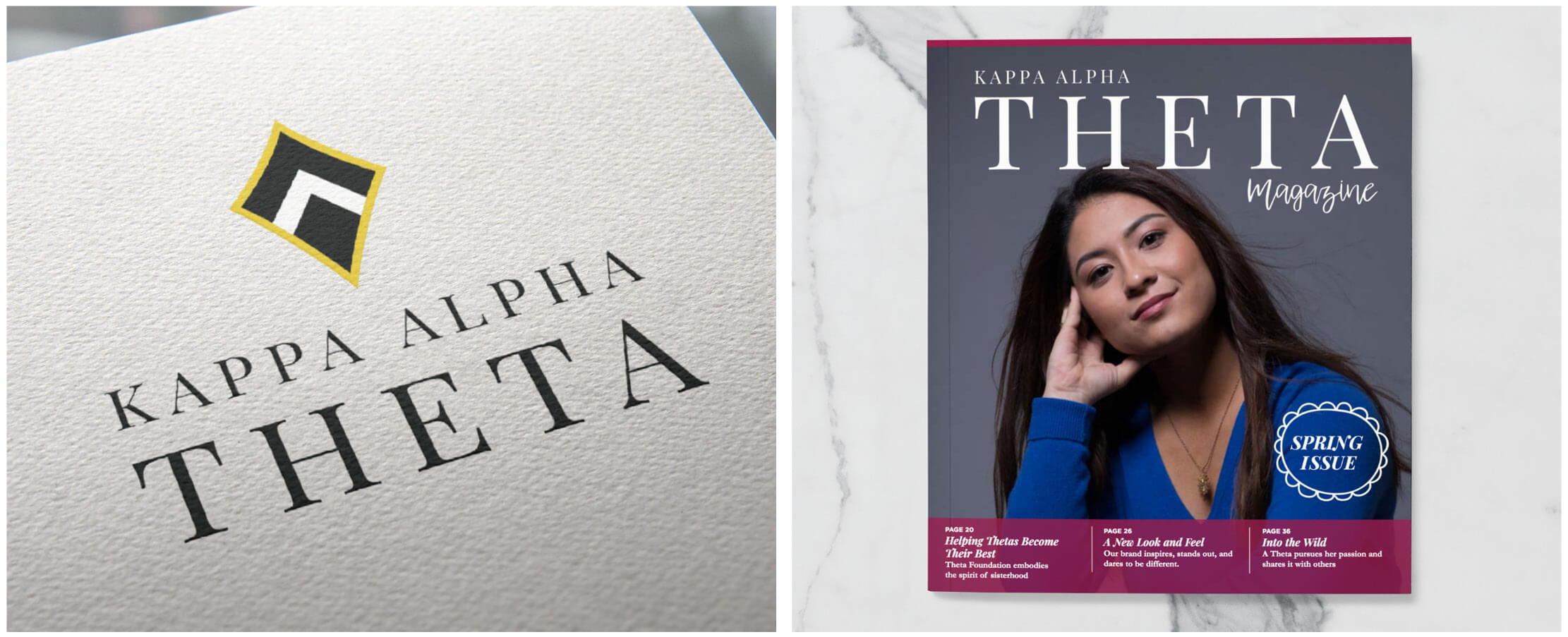 fa274d31 Once the new logo and brand elements were established, we worked with Theta  to apply this brand to marketing materials such as the member magazine and  more.